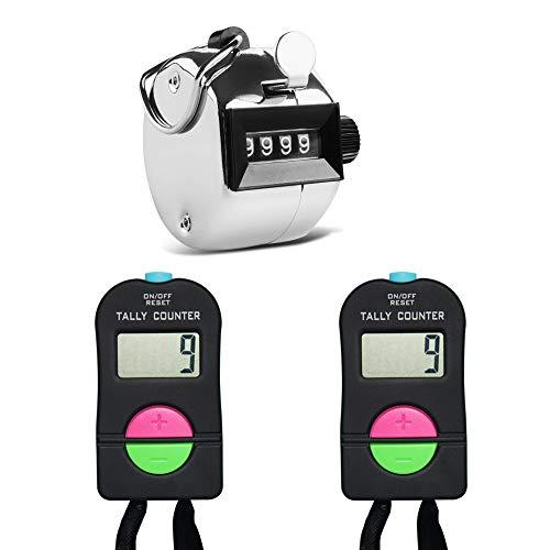 AFUNTA - 2 pezzi manuale elettronico per aggiungere e sottrarre il contatore e 1 clicker manuale meccanico, per golf, corsa, nuoto, campo da baseball