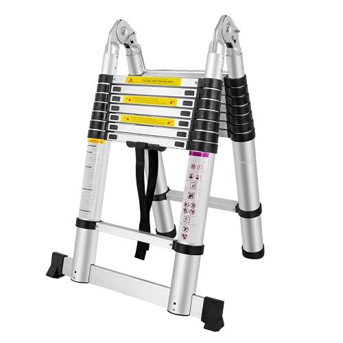 SAILUN - Scala telescopica pieghevole a libretto design in alluminio di alta qualità scala multiuso 16 pioli – 90cm fino a 5m Portata 150 kg