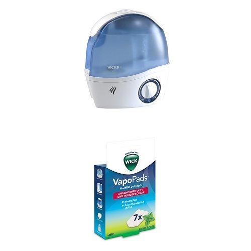 Wick WH5000E4 Ultraschall-Luftbefeuchter + Wick WH7 VapoPads Nachfüll Duftpads, Menthol