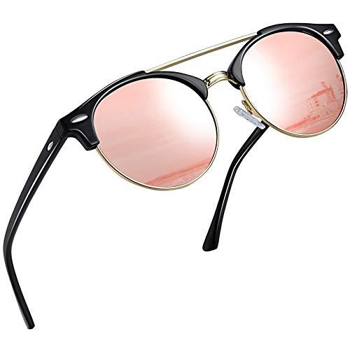 Joopin Gafas de Sol Polarizadas Hombre Redondas Clásico Vintage Retro Puente Doble Media Montura Gafas Mujeres Espejo Lente Rosa