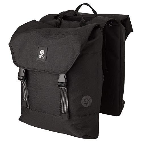 AGU Essentials DWR Urban Klickfix Doppelte Fahrradtasche für Gepäckträger, 36L Seitentasche Fahrrad, Wasserabweisend, Reflektierend, 100% Recyceltes Polyester - Schwarz