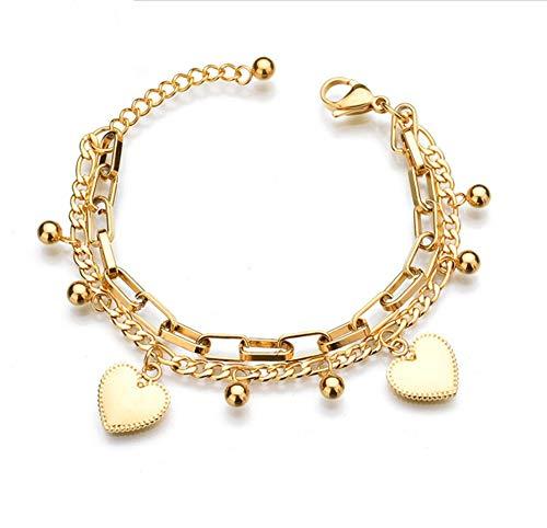 Zmnbaa Böhmen Europa Und Amerika Mode Mehrschichtigen Edelstahlarmband Liebeskugel Armband