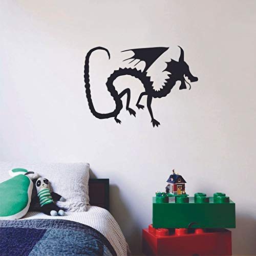 Dragon's Skeleton Silhouette Drawing Design Cute Decoration Vinyl Wall Art Wall Sticker Wall Decal Design Home Wall Room Décor For Kids Room Boys Nursery Infant Toddler Room Design (40x40 inch)