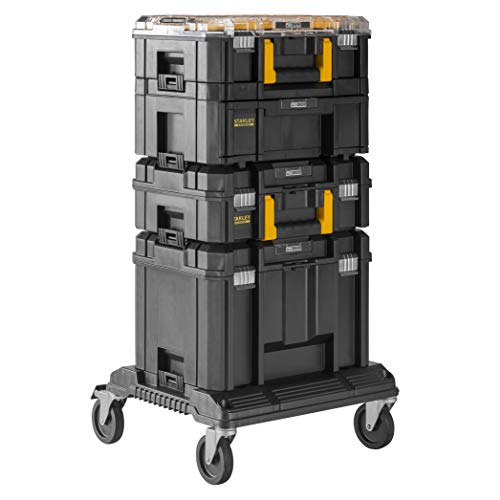 Stanley FMST1-80107 FatMax Pro-Stack Tool Box Combo (21.5L Capacity, 2 Drawers and Organisers for Small Items, Metal Closure, with Removable Dividers