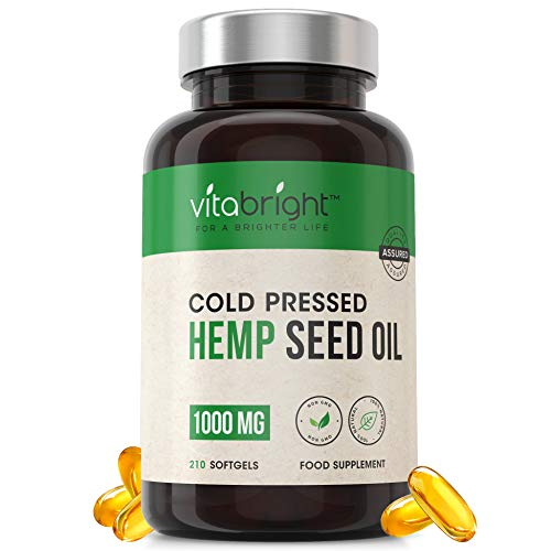 1000mg Softgel Hemp Oil Capsules Supplement - 7 Months Supply - 210 Easy to Swallow - GMO, Wheat, Gluten & Lactose Free - 100% Pure Cold Pressed Hemp Oil - Made in The UK