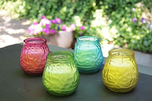 Citronella kaars in een glas - Set van 4 stuks in verschillende kleuren - Voor buiten gebruik