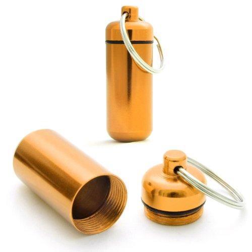 Ganzoo Pilulier, Capsule 2 pièces en Aluminium, imperméable, Porte-clés Stockage, Jaune