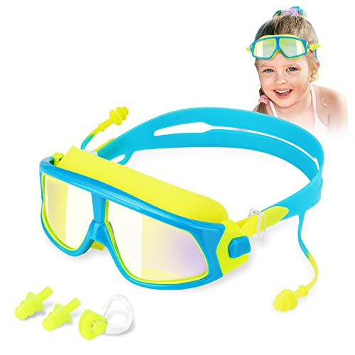 WOTEK Swimming Goggles Anti-Fog No Leaking Goggles Kids Swimming UV Protection with Earplugs and Nose Clip Clear Kids Goggles (Age 5-15)
