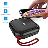 MIPOW Portable Wireless Charger, Ultra-Compact Qi 10000mah Power Bank with High-Speed Charging Technology External Battery for iPhone, Samsung Galaxy and More (Black)