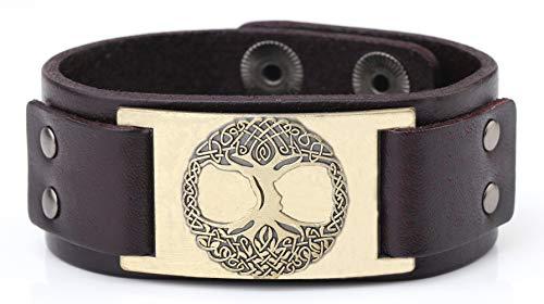 Lemegeton - Pulsera de cuero con diseño de árbol de la vida celta, para hombres y mujeres