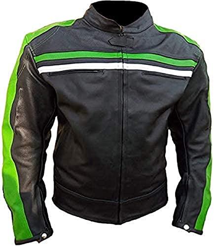 Chaqueta de cuero negro con rayas verdes, estilo retro, para hombre