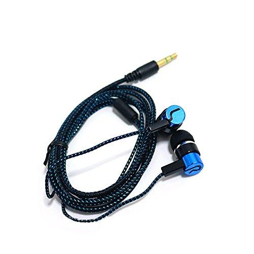 Auriculares intraurales, con aislamiento de ruido, con cable y clavijas, con línea de tela reflectante y auriculares sin micrófono azul