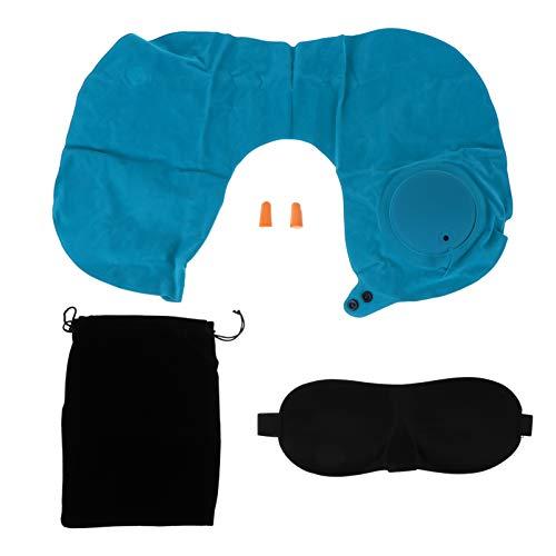 MILISTEN Juego de Almohada de Viaje Inflable en Forma de U Cojín de Apoyo para El Cuello Tapones para Los Ojos Blinder Gafas con Bolsa de Almacenamiento para Aviones Coche de Casa