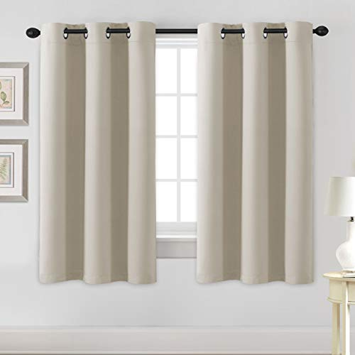 H.VERSAILTEX Blackout Curtains for Bedroom Thermal Insulated Room Darkening Living Room Curtains 63 Inch Long Grommet Privacy Protection Window Curtain Panels/Drapes for Nursery, 2 Panels, Cream