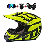 MCRUI Casco de Motocross con Gafas certificadas Guantes de máscara para Adultos Offroad Fox Motorcycle Casco para Hombres Protección de Seguridad para Las señoras para (7 Colores),Amarillo,M