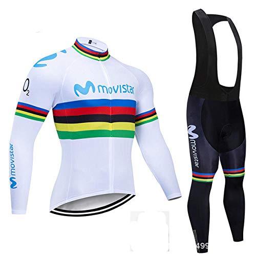 LybMjG Culotte Ciclismo Culote, Winter Fleece Pro Mavic Conjunto de Jersey de Ciclismo, Ropa de Bicicleta de Montaña Ropa Ciclismo Ropa de Bicicleta de Carreras Conjunto de Ciclismo-Blanco 1_XXXL