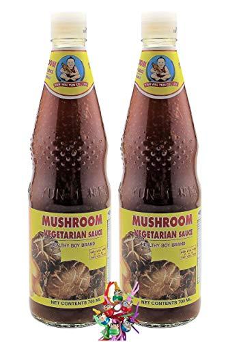 yoaxia ® - 2er Pack - [ 2x 700ml ] HEALTHY BOY BRAND Vegetarische Sauce aus Pilzen / Vegetarien sauce from mushrooms + ein kleines Glückspüppchen - Holzpüppchen