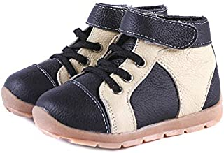 SandQ baby Boys Black + Cream Leather Boots