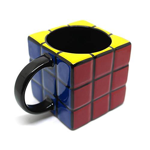 250ml Cubo De Rubik's Cube En Forma Taza De Café Cerámica Calentador Tapas Porcelana Divertida Regalo De Oficina Viaje Estándar Novedad Animales,Black-250ml