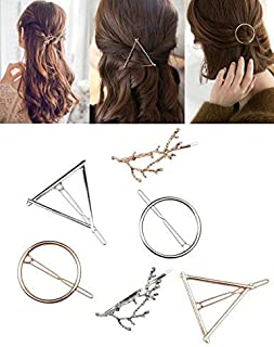Fani 8pcs Minimalist Dainty Hollow Geometric Gold Silver Metal Hair Clip Hairpin Clamps,Tree Branches,Circle, Triangle,Moon Shapes Hair Accessories