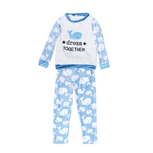 Frauen Cartoon Whale Style Flanell Winter Nachtwäsche Schlafanzug Langarm Nachtwäsche Größe L