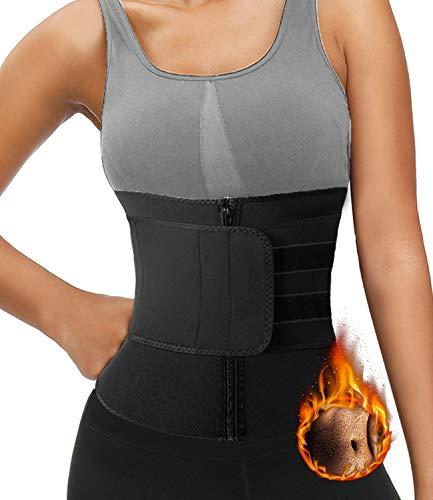 DUROFIT Cinturón de Entrenamiento Faja Moldeadora Mujer Adelgazante Waist Trainer Efecto Sauna Cinturón de Entrenamiento para Fitness Deporte Negro XL