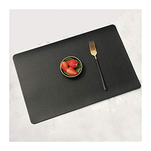 YMYGCC PU Leather Coaster Placemat For Dining Table Heat Insulation Mat Waterproof Rectangle Table Pad Bowl Placemat table placemats 881 (Color : Black, Size : 45X30CM)