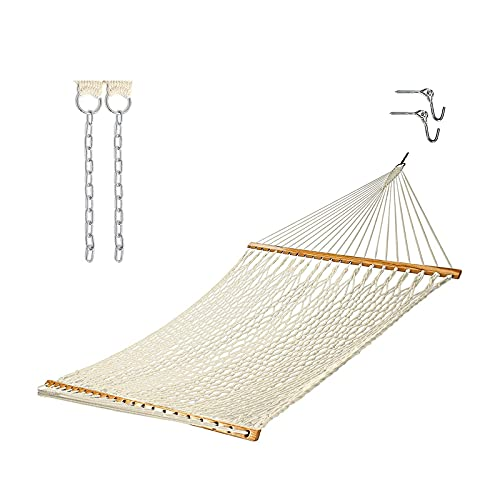 XiYou Hammock with Stand 2 Person Heavy Duty Traditional Rope Hammocks and Stand with Pillow for Outdoor Porch Patio Garden Backyard Outdoor Max 450lb Capacity