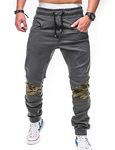 SOMTHRON Herren Elastische Taille Gürtel Baumwolle Jogging Sweat Hosen Plus Size Mode Lange Sports Cargo Hosen Shorts mit Taschen Joggers Activewear Hosen (GY2-M)