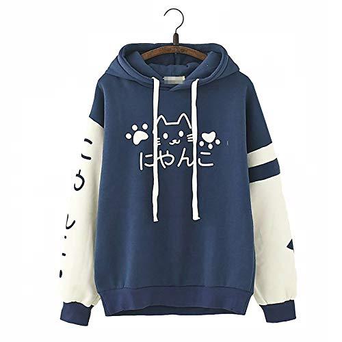 Vdual Süße Mädchen' Kawaii Japanisches Wort-Text-Duo Farbiger Kawaii Katzen-Druck-Entwurf warm Sommer Kapuzenpullover