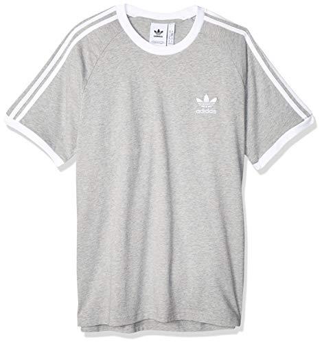 adidas Herren 3-Streifen T-Shirt, Medium Grey Heather, XL
