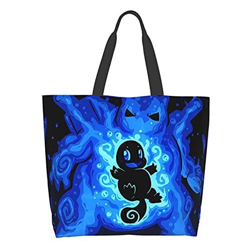 Bolsa de hombro de gran capacidad para llevar a la escuela de compras y trabajo de anime Pikachu Squirtle para damas, bolsa de almacenamiento de comestibles