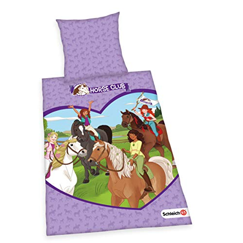 Herding SCHLEICH Bettwäsche-Set, Horse Club-Wendemotiv, Bettbezug 135 x 200cm, Kopfkissenbezug 80 x 80cm, Baumwolle/Renforcé