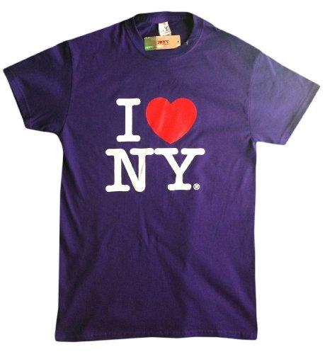 I love NY New York Kids Short Sleeve Bildschirm Print Heart T-Shirt Violett Gr. X-Large, violett