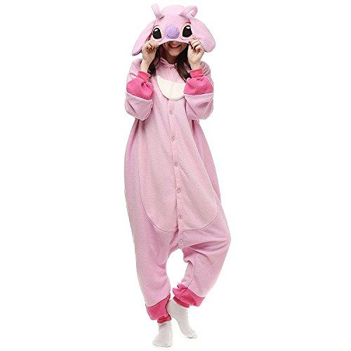 Lazutom Unisex Adult Pyjamas Cosplay Tier Onesie Nachtwäsche Nachtwäsche (Lilo and Stitch Pink, S)