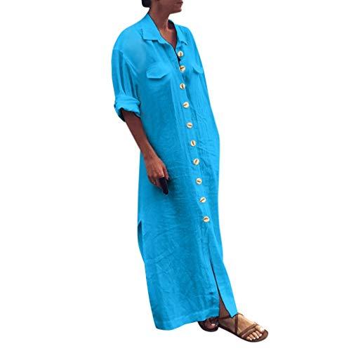 LOPILY Damen Kleider Leinenkleid Lang Blusenkleid mit Knopfleiste Kurzarm Shirtkleid Bequem Lockere Tunika Kleider Knöchellang Kleid Freizeit Strandkleid Elegant Arbeitskleid (Himmelblau, 42)