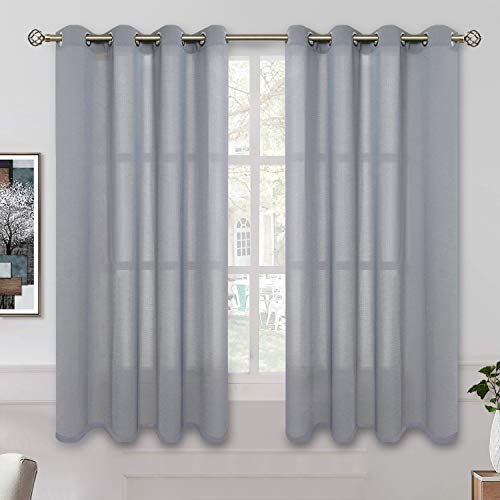 BGment Sheer Curtains 63 inch Length for Bedroom, Grommet Light Filtering Casual Textured Privacy Semi Sheer Curtains for Living Room, 2 Panels (Each 52 x 63 Inch, Grey)