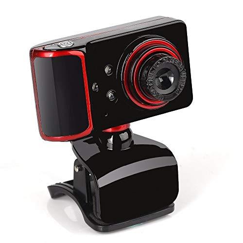 Wdonddonsxt Webcam HD Webcam 16 Megapíxeles con Micrófono 3 LED De Luz Nocturna De La Cámara De La Computadora For Veido Web CAM Web CAM (Color : Black)