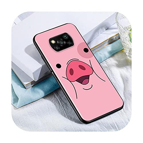 Phone cover Cute Kawai Pig Para Xiaomi Poco X3 Nfc M3 M2 X2 F3 F2 Pro C3 F1 Mi Play Mix 3 A2 A1 6X 5X Negro Teléfono Case Style 08-Para Xiaomi A1