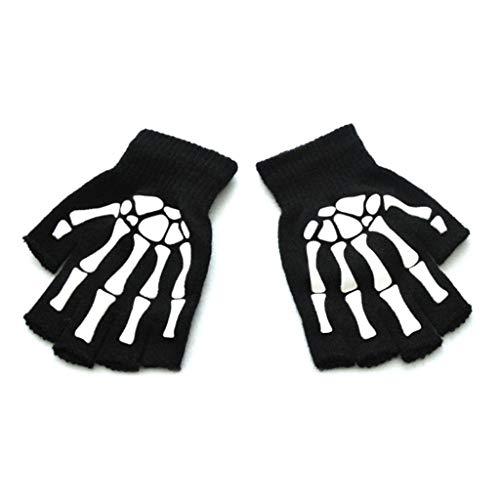 kdjsic Kleinkind Kinder Halloween Cosplay Skelett Schädel Halbfinger Handschuhe Glühen im Dunkeln Leuchtende Fingerlose Winterhandschuhe