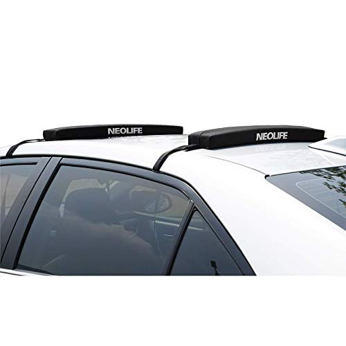 wonitago Soft Roof Rack Pads with Single Wrap-Rax Straps for Surfboard SUP Paddleboard Snowboard, 28 (Pair) Black