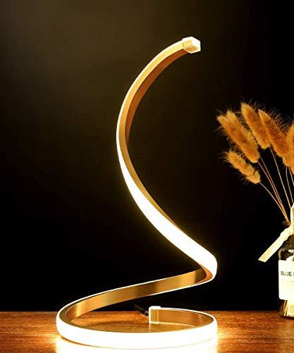 Lámpara de mesa LED en espiral, moderna lámpara de noche, de aluminio, 12 W, regulable, con interruptor táctil, para dormitorio, salón y oficina, altura de 33 cm - 2 m, color dorado