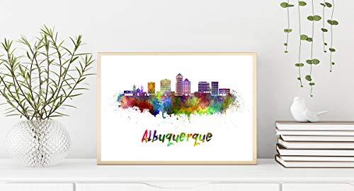 Albuquerque V2 Skyline en Acuarela Papel Acuarela 11x14 Inches