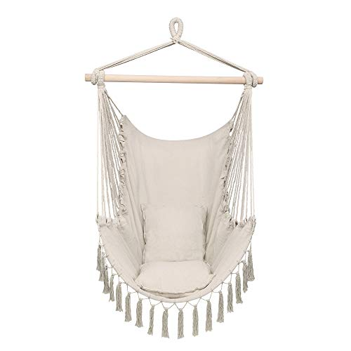 Zokop Hammock Chair with Two Pillows,Tassel Hanging Chair Swing Seat (Beige)