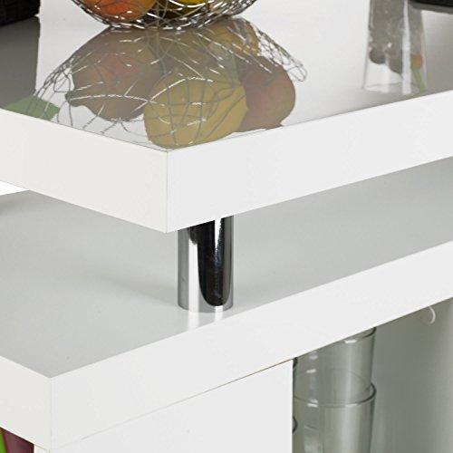 Bar Hausbar Cocktailbar Bartheke | Dekor Weiß Hochglanz | Glaseinlegeböden - 5