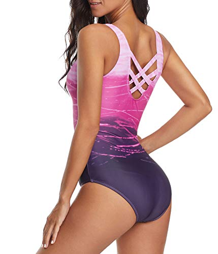 Women's One Piece Swimsuits for Women Athletic Training Swimsuits Swimwear Racerback Bathing Suits for Women Purple XX-Large (fits Like US 14-16)