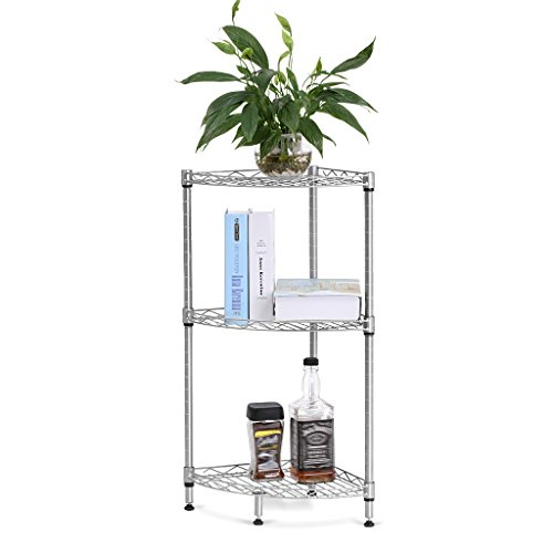 LANGRIA 3-Tire Corner Wire Shelf Bathroom Corner Shelf Bookcase, Free Standing Corner Storage Rack Display Tier Shelf for Kitchen Office,Silver