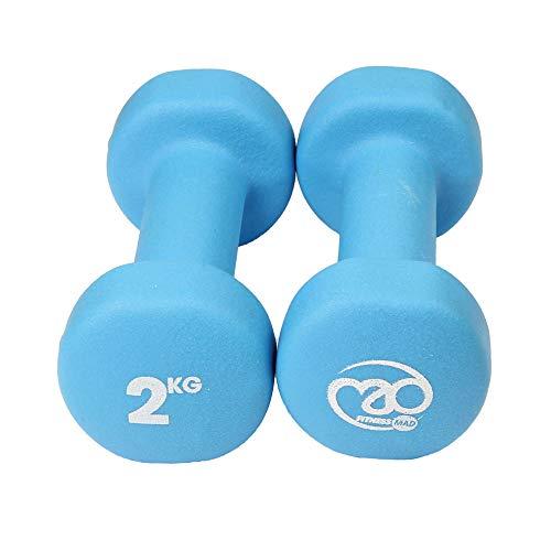 Fitness Mad Neo - Set de 2 Mancuernas / pesas de 2kg/u, color azul