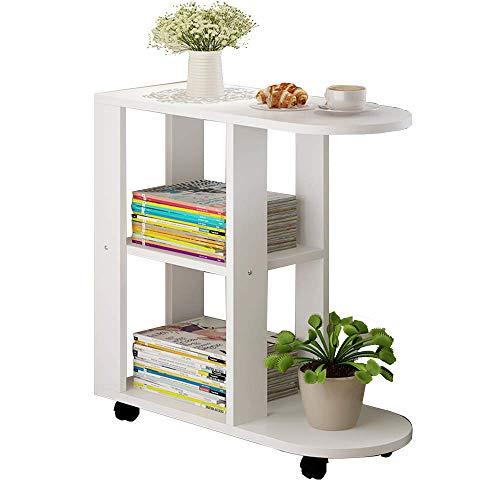Household products / Furniture Lámpara de mesa Sofá Mesa auxiliar Mesa auxiliar Mesa de café con estantes de almacenamiento, 2 Niveles Biblioteca sobre ruedas, 23.6''x 11.8''x 26,3 '' (color: NEGRO)
