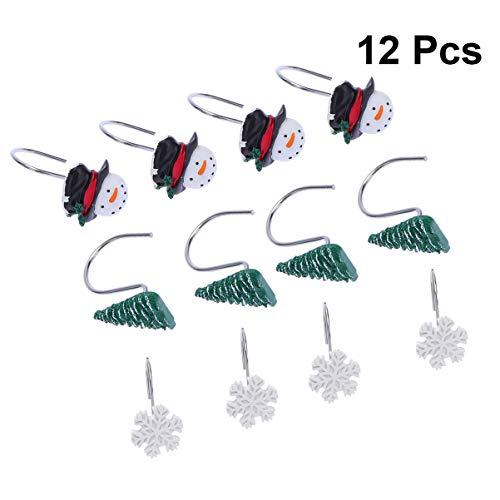 Toyvian 12 Stück Weihnachten Duschvorhang Haken Harz Weihnachtsmann Schneeflocke Eukalyptus Duschvorhang Ringe Kleiderbügel für Urlaub Badezimmer Dekor